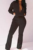 Black Women Solid Color Long Sleeve Cardigan Zipper Sport Flare Leg Pants Sets LML163-5