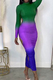 Green Gradient Long Sleeve High Neck Hollow Out Slim Fitting Maxi Dress ZDD31162-3