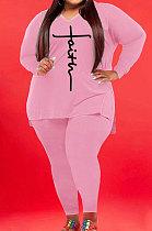 Pink Wholesale Autumn Long Sleeve V Neck Top Pencil Pants Fat Woman Sets WA77267-4