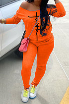 Orange Cotton Blend Print Long Sleeve Off Shoulder Blouse Bodycon Pants Casual Sets WA77272-5