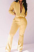 Yellow Women Solid Color Long Sleeve Cardigan Zipper Sport Flare Leg Pants Sets LML163-4