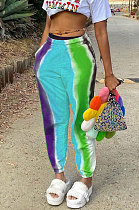 Blue Casual Digital Rainbow Print Ankle Banded Pants ZDD31163-1