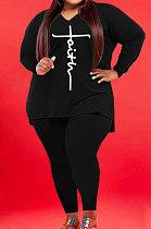 Black Wholesale Autumn Long Sleeve V Neck Top Pencil Pants Fat Woman Sets WA77267-6
