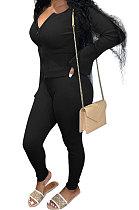 Black Euramerican Women Autumn Winter Ribber Pure Color Zipper Cardigan Bodycon Long Pants Sets Q939-3