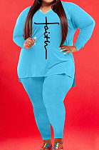 Light Blue Wholesale Autumn Long Sleeve V Neck Top Pencil Pants Fat Woman Sets WA77267-2