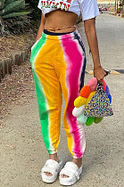 Yellow Casual Digital Rainbow Print Ankle Banded Pants ZDD31163-3