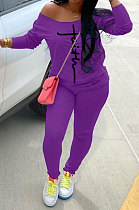 Purple Cotton Blend Print Long Sleeve Off Shoulder Blouse Bodycon Pants Casual Sets WA77272-1