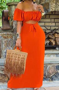 Orange Euramerican Women Solid Color Backless A Word Shoulder Mid Waist Long Dress ED8523-1
