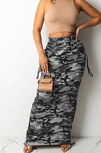 Grey Fashion Camouflage Print Ruffle Drawsting Slim Fitting Maxi Skirts ZNN9110-1
