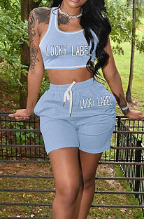 Light Blue Casual Letter Print Tank Shorts Solid Color Sport Sets YSH86245-4
