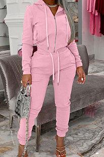 Pink Autumn Winter Velvet Long Sleeve Zip Front Hoodie Pencil Pants Sport Sets YT3289-4