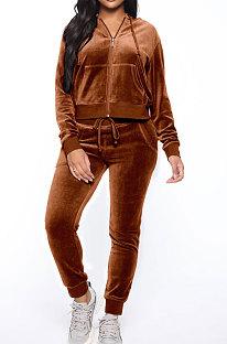 Brown Women Korea Velvet Ribber Spliced Pure Color Long Sleeve Cardigan Hooded Casual Pants Sets Q950-7