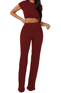 Wine Red Fashion Casual High Elastic Cotton Shor Sleeve Top Pure Color Ribber Loose Pants Sets MY9298-8