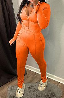 Orange Wholesale New Horn Sleeve Zip Fron Top Slit Pencil Pants Slim Fitting Two-Piece YX9295-5