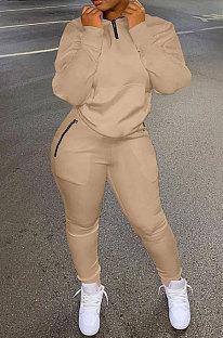 Khaki Autumn Winter New Long Sleeve Stand Neck Zipper Jumper Sweat Pants Sport Sets YX9292-5
