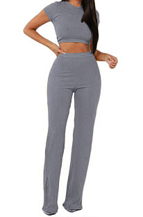 Gray Fashion Casual High Elastic Cotton Shor Sleeve Top Pure Color Ribber Loose Pants Sets MY9298-3