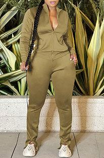 Khaki Sport Women Solid Color Zipper Cardigan Split Pants Sets HR8192 -3