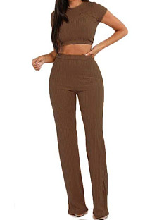 Coffee Fashion Casual High Elastic Cotton Shor Sleeve Top Pure Color Ribber Loose Pants Sets MY9298-5