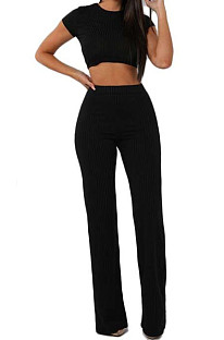 Black Fashion Casual High Elastic Cotton Shor Sleeve Top Pure Color Ribber Loose Pants Sets MY9298-4