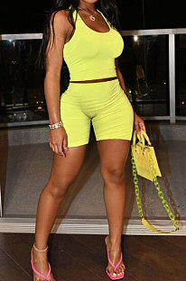 Yellow Cotton Blend Simple Tank Shorts Solid Color Sport Sets YSH86244-3