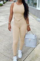 Apricot Euramerican Fashion Women Tight Super Elastic Tank Pure Color Pants Sets HR8186-3