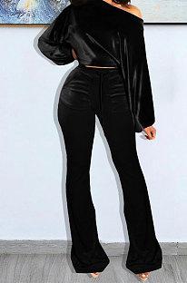 Black Wholesale Velvet Long Sleeve Oblique Shoulder Top Flare Pants Solid Color Sets YX9298-5
