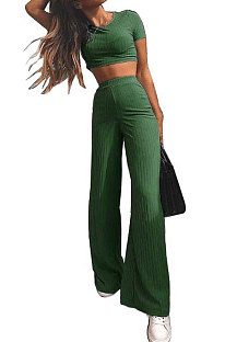 Green Fashion Casual High Elastic Cotton Shor Sleeve Top Pure Color Ribber Loose Pants Sets MY9298-6