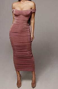 Pink Ruffle Sexy A Word Shoulder Bodycon Pure Color Korea Velvet Long Dress MY9351-1