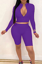 Purple New Wholesale Long Sleeve Stand Collar Zipper Crop Top Shorts Solid Color Sets YSH6162-2