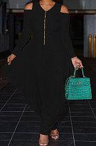 Black Euramerican Pure Color Off Shoulder Zipper Irregular Lower Hem Casual Jumpsuits NRS8079-2