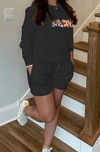 Black Casual Pattern Print Long Sleeve Round Neck T-Shirt Shorts Sport Sets ZNN9109-2