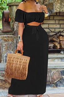 Black Euramerican Women Solid Color Backless A Word Shoulder Mid Waist Long Dress ED8523-3