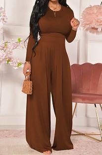 Coffee Women Trendy Joket Casual Pure Color Loose Pants Sets ED8522-3