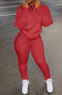 Red Autumn Winter New Long Sleeve Stand Neck Zipper Jumper Sweat Pants Sport Sets YX9292-3