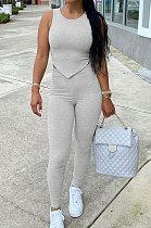 Gray Euramerican Fashion Women Tight Super Elastic Tank Pure Color Pants Sets HR8186-1