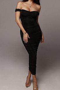 Black Ruffle Sexy A Word Shoulder Bodycon Pure Color Korea Velvet Long Dress MY9351-4