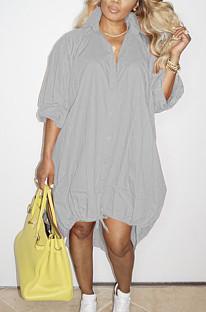 Grey Lapel Neck Long Sleeve Single-Breasted Loose Drawable Hem Shirt Dress WY6838-4