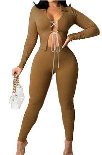 Camel Cotton Blend Long Sleeve Bandage Top Bodycon Pants Solid Color Sets ZNN9108-1