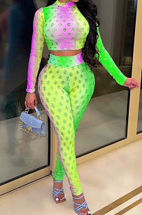 Green Colorful Long Sleeve High Neck Crop Top Pencil Pants Hollow Out See-Through Sets YT3290-1