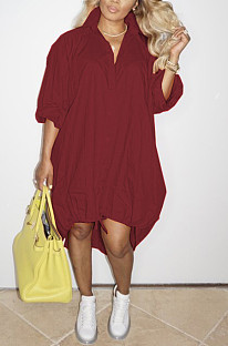 Wine Red Lapel Neck Long Sleeve Single-Breasted Loose Drawable Hem Shirt Dress WY6838-5