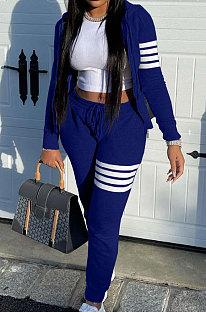 Blue Newest Striple Spliced Long Sleeve Zipper Hooded Coat Sweat Pants Sets YX9296-2