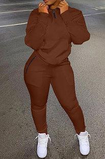 Coffee Autumn Winter New Long Sleeve Stand Neck Zipper Jumper Sweat Pants Sport Sets YX9292-4