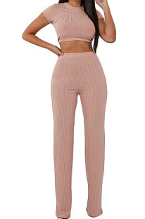 Pink Fashion Casual High Elastic Cotton Shor Sleeve Top Pure Color Ribber Loose Pants Sets MY9298-2