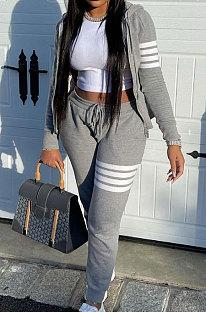 Gray Newest Striple Spliced Long Sleeve Zipper Hooded Coat Sweat Pants Sets YX9296-4