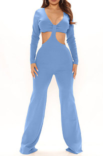 Blue Club Ribber Long Sleeve V Neck Hollow Out Solid Color Slim Fitting Flare Jumpsuits YT3291-1