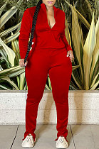 Red Sport Women Solid Color Zipper Cardigan Split Pants Sets HR8192 -2