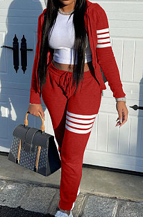 Red Newest Striple Spliced Long Sleeve Zipper Hooded Coat Sweat Pants Sets YX9296-1
