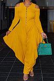 Yellow Euramerican Pure Color Off Shoulder Zipper Irregular Lower Hem Casual Jumpsuits NRS8079-1