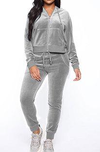 Gray Women Korea Velvet Ribber Spliced Pure Color Long Sleeve Cardigan Hooded Casual Pants Sets Q950-2