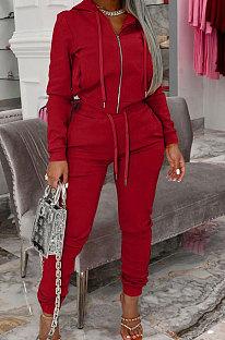 Red Autumn Winter Velvet Long Sleeve Zip Front Hoodie Pencil Pants Sport Sets YT3289-3